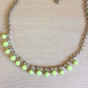 NWOT J. Crew neon yellow Jewel statement necklace
